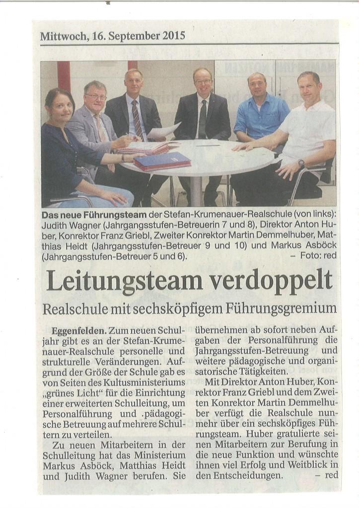 Zeitungsartikel Erweiterte Schulleitung - PNP 16.09.2015