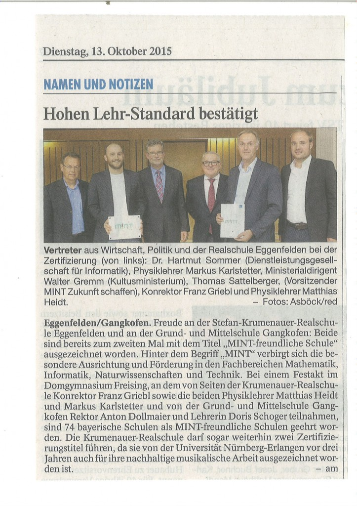 Zeitungsartikel MINT-Zertifzierung - PNP 13.10.2015