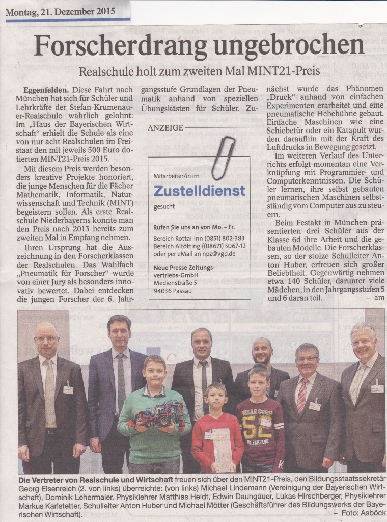 2015-12-21 - Zeitungsartikel über MINT-Rezertifizierung RS Eggenfelden (RA)