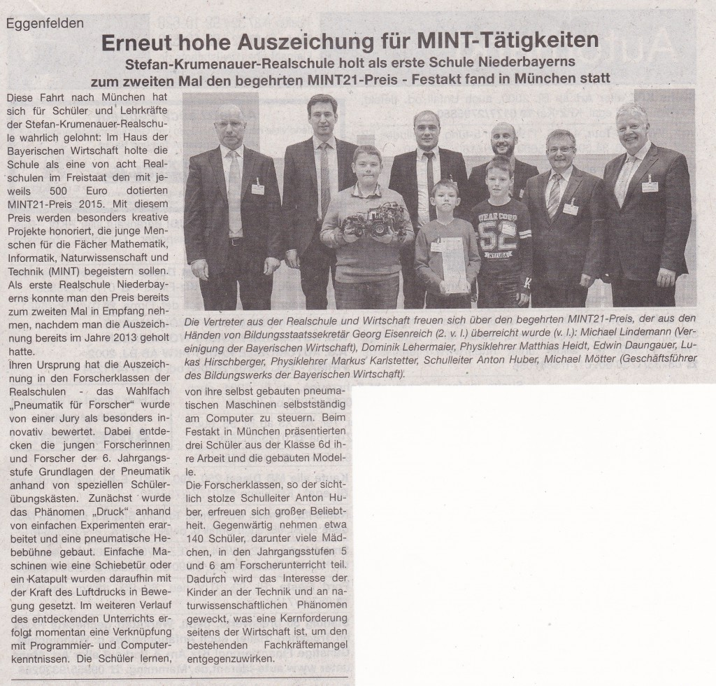 2015-12-21 - Zeitungsartikel über MINT-Rezertifizierung RS Eggenfelden (VIB)