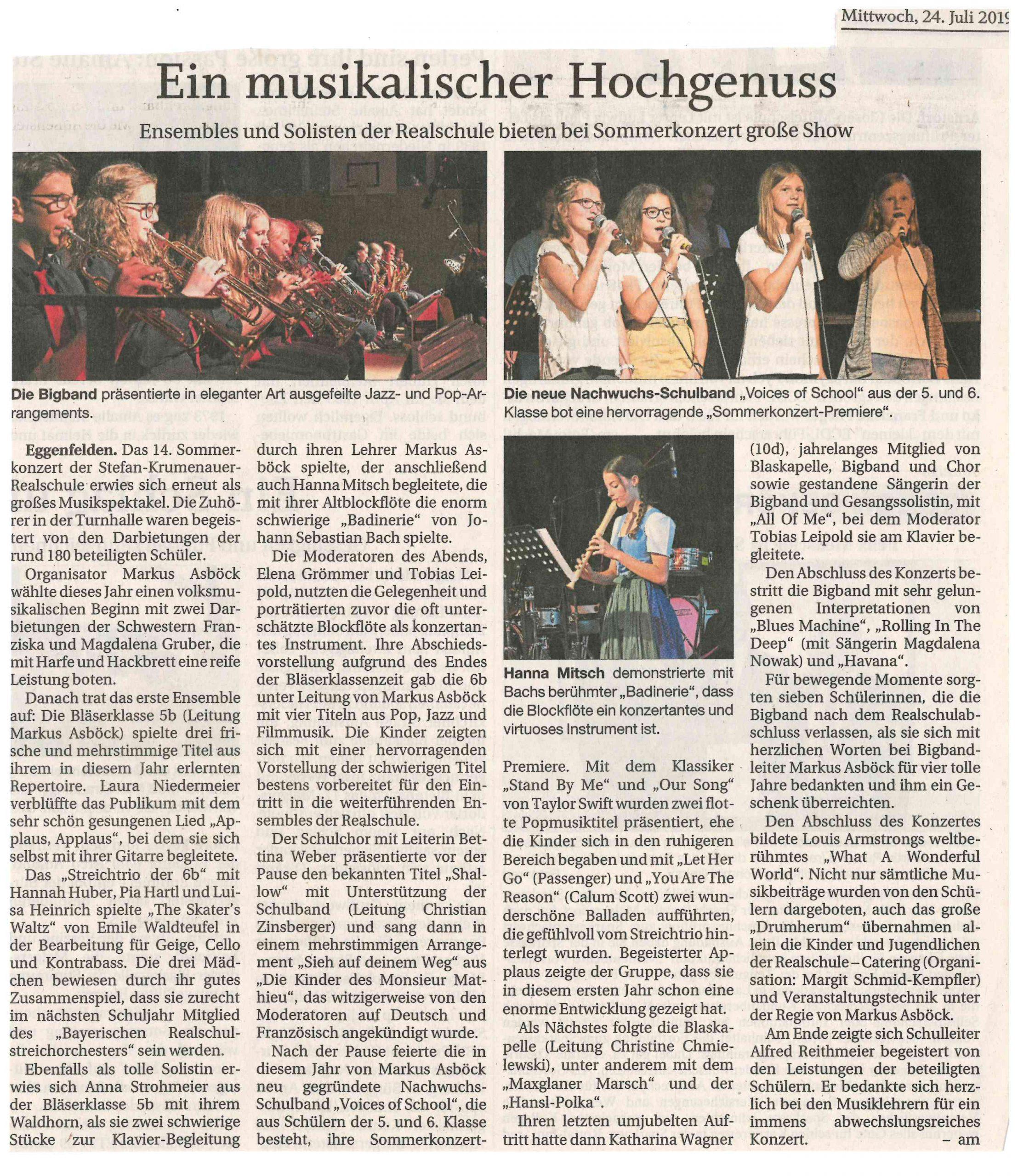 2019-07-24 - Sommerkonzert 2019 - Zeitungsartikel RA