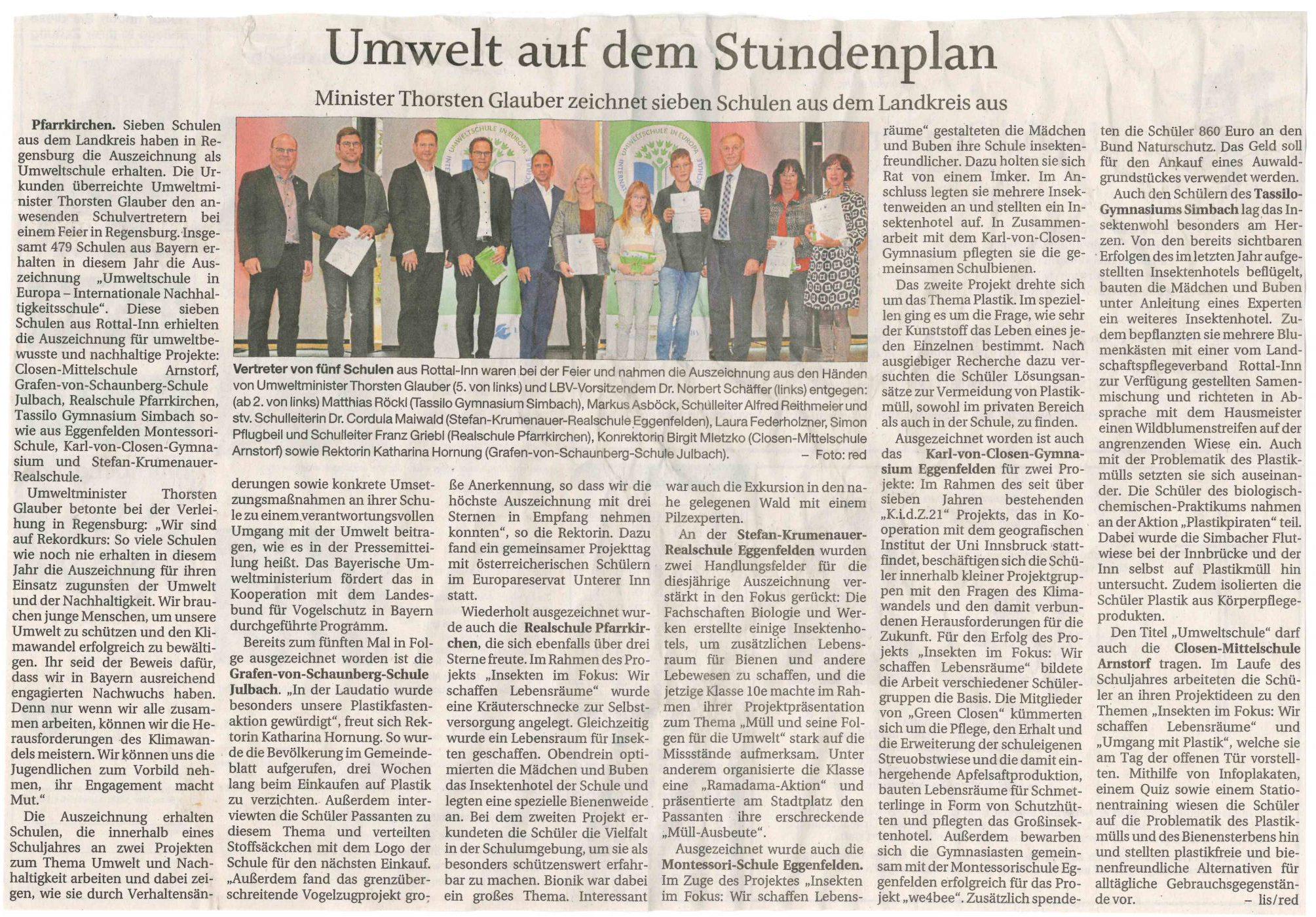 2019-11-22 - Umweltschule-Zertifizierung- Presseartikel