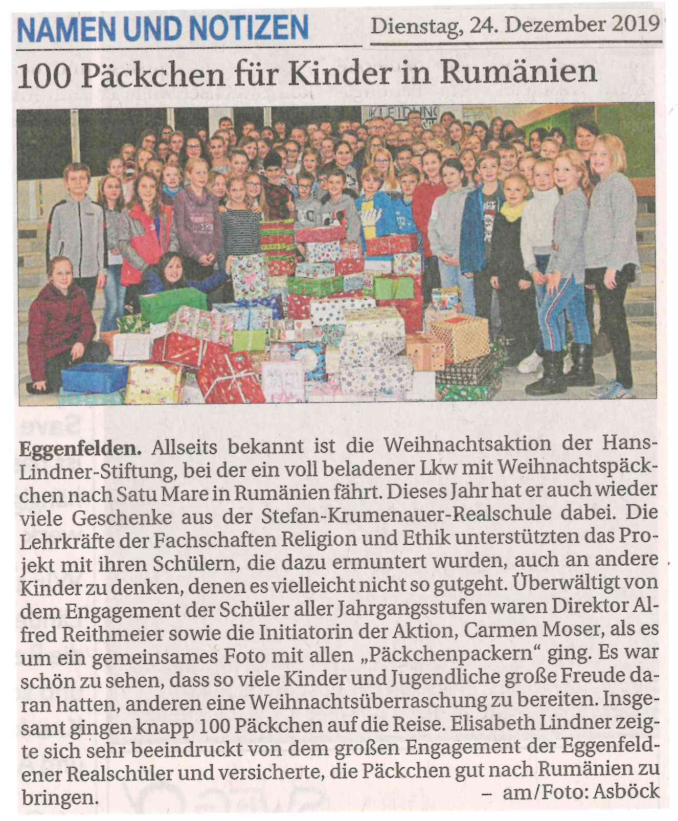 2019-12-24 - Rumänien-Weihnachtspäckchen-Aktion 2019 - Presseartikel