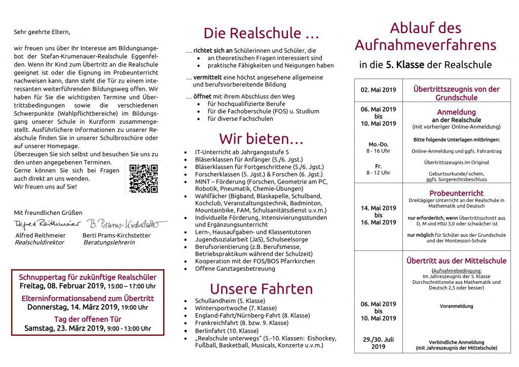 Flyer für Übertrittsabend 2019 - 2