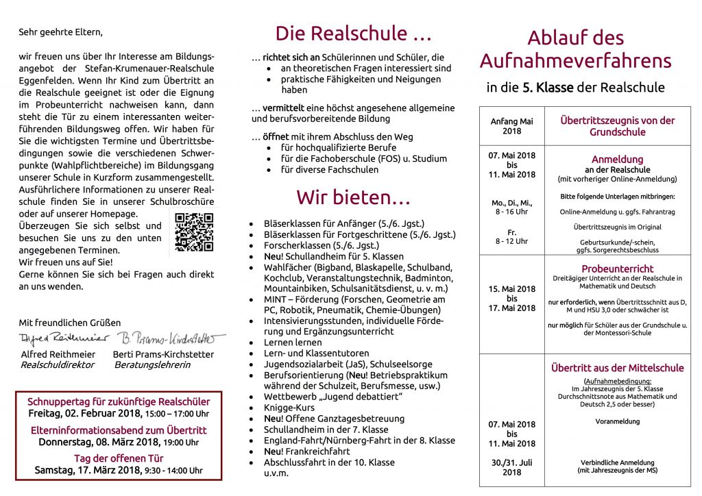 Flyer für Übertrittsabend 2018_mit Foto_neues_Mintlogo 2