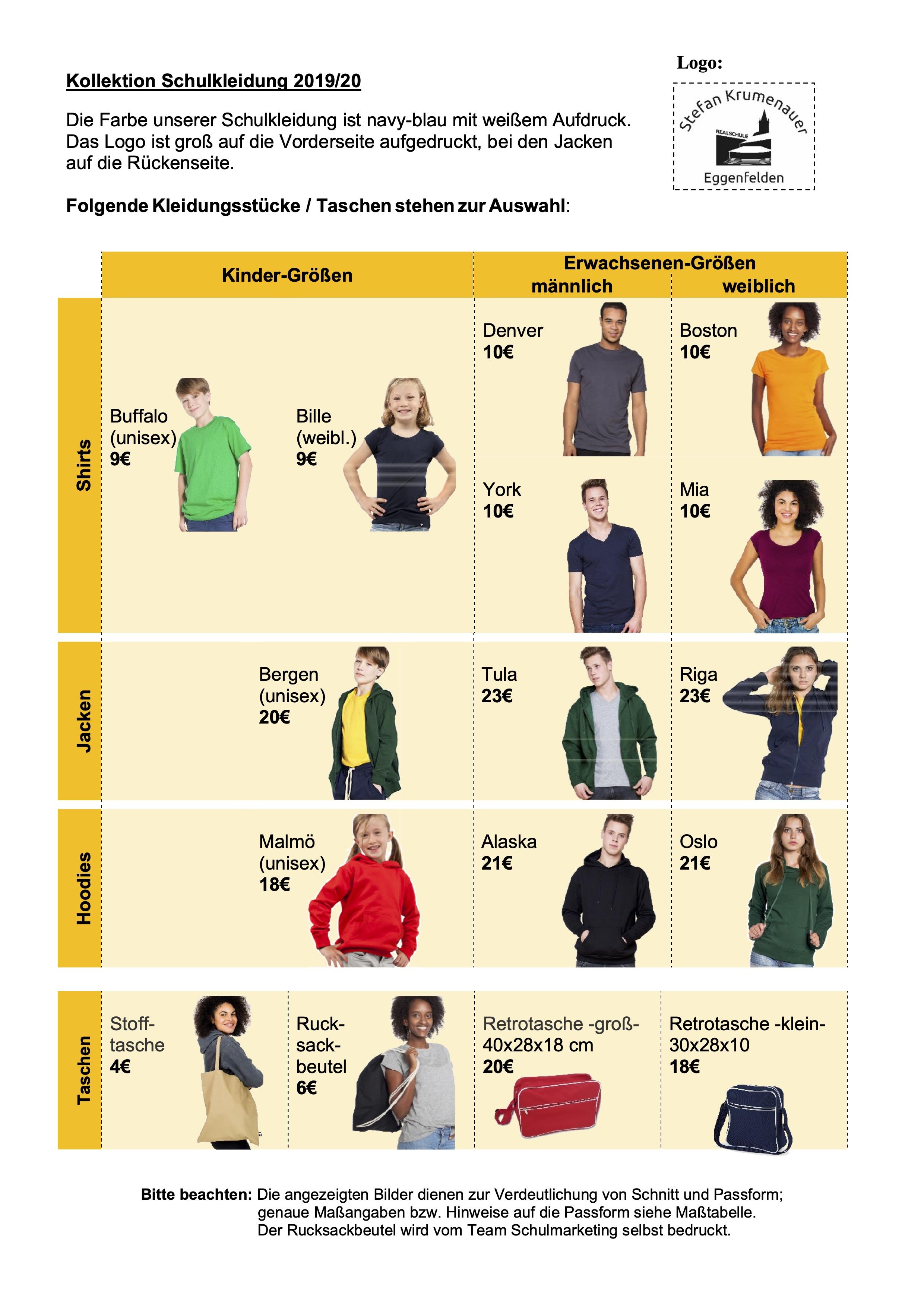 Homepage Info Schulkleidung 2019-20